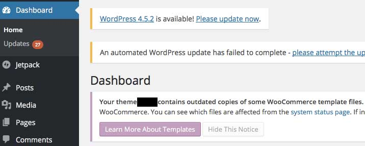 Example pending updates on Wordpress